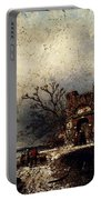 Leickert Charles Henri Joseph Villagers On A Frozen Path Portable Battery Charger