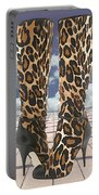 Leopard Boots With Ankle Straps Portable Battery Charger