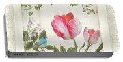 Les Magnifiques Fleurs I - Magnificent Garden Flowers Parrot Tulips N Indigo Bunting Songbird Portable Battery Charger