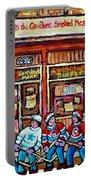 Les Scenes De Pointe St Charles Les Produits Smoked Meat Avec Partie De Hockey Portable Battery Charger