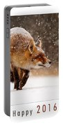 Let It Snow 4 - New Years Card Red Fox In The Snow Portable Battery Charger
