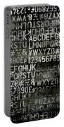 Letters And Numbers Grey On Black Portable Battery Charger