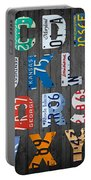 Letters Of The Alphabet Recycled Vintage License Plate Art With Apple Colorful School Nursery Kids Room Print Portable Battery Charger