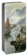 Lewis And Clark On The Lower Columbia River Portable Battery Charger by Charles Marion Russell
