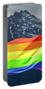 Lgbtq Rainbow Flag With Snowy Mountain Background View Portable Battery Charger