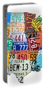License Plate Map Of The United States Outlined Portable Battery Charger by Design Turnpike