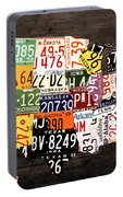 License Plate Map Of The United States - Warm Colors / Black Edition Portable Battery Charger