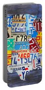 License Plate Map Of The Usa On Blue Wood Boards Portable Battery Charger