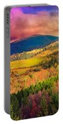 Light  Beam Falls On Hillside With Autumn Forest In Mountain Portable Battery Charger