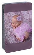 Light Lavender Feather Wings With Flower Headband Portable Battery Charger