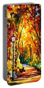 Light Of The Forest - Palette Knife Oil Painting On Canvas By Leonid Afremov Portable Battery Charger