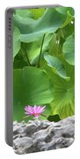Light Purple Water Lily And Large Green Leaves Portable Battery Charger