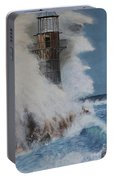 Lighthouse In A Storm Portable Battery Charger by David Hawkes
