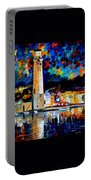 Lighthouse In Crete - Palette Knife Oil Painting On Canvas By Leonid Afremov Portable Battery Charger