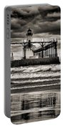 Lighthouse Reflections In Black And White Portable Battery Charger