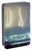 Lightning Over Phoenix Arizona Panorama Portable Battery Charger