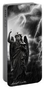 Lightning Strikes The Angel Gabriel Portable Battery Charger by Amanda Elwell