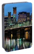 Ligth Trails On Hawthorne Bridge At Blue Hour Portable Battery Charger