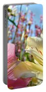 Lilies Pink Yellow Lily Flowers Canvas Art Prints Baslee Troutman Portable Battery Charger