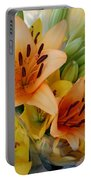 Lillies - Peach And Yellow Colors Portable Battery Charger