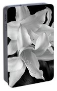 Lily Flowers Black And White Portable Battery Charger