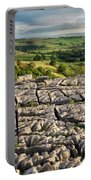 Limestone Pavement At Malham Cove At Sunset Portable Battery Charger