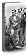 Lincoln And His Generals Black And White Portable Battery Charger by War Is Hell Store