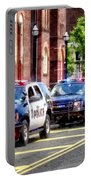 Line Of Police Cars Portable Battery Charger