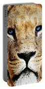 Lion Art - Blue Eyed King Portable Battery Charger by Sharon Cummings