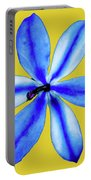 Little Blue Flower On A Yellow Background Portable Battery Charger