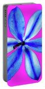 Little Blue Flower On Dark Pink Portable Battery Charger