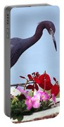 Little Blue Heron In Flower Pot Portable Battery Charger
