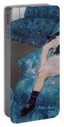 Little Girl In A Blue Armchair Portable Battery Charger by Mary Stevenson Cassatt