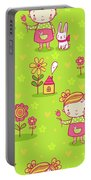 Little Girl With Her Rabbit On A Green Field Portable Battery Charger