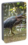 Little Green Heron With Fish Portable Battery Charger