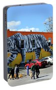 Little India In Jersey City-white Tiger Mural Portable Battery Charger