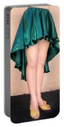 Ameynra Fashion Satin High Low Skirt, Dark-green Portable Battery Charger