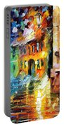 Little Street - Palette Knife Oil Painting On Canvas By Leonid Afremov Portable Battery Charger