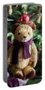 Little Sweet Teddy Bear With Knitted Scarf Under The Christmas Tree Portable Battery Charger