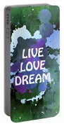 Live Love Dream Green Grunge Portable Battery Charger
