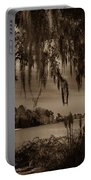 Live Oak Tree Spanigh Moss Sepia Silhouette Portable Battery Charger