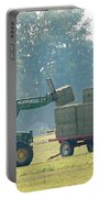 Loading Hay At Dusk Portable Battery Charger