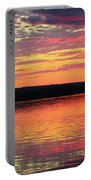 Loan Boat On A River At Sunset Portable Battery Charger