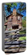 Log Cabin And Wooden Fence At Ninety Six National Historic Site 2 Portable Battery Charger