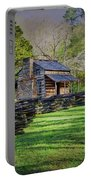 Log Cabin, Smoky Mountains, Tennessee Portable Battery Charger