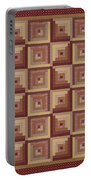 Log Cabin Reds Quilt Portable Battery Charger