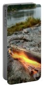 Log On Fire Manitoba Lake Wilderness Portable Battery Charger