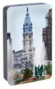 Logan Circle Fountain With City Hall In Backround Portable Battery Charger