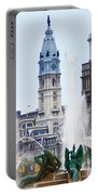 Logan Circle Fountain With City Hall In Backround Portable Battery Charger by Bill Cannon