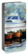 London-fog Over Thames - Palette Knife Oil Painting On Canvas By Leonid Afremov Portable Battery Charger